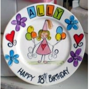 Handpainted Plate - Birthday Balloons Girl
